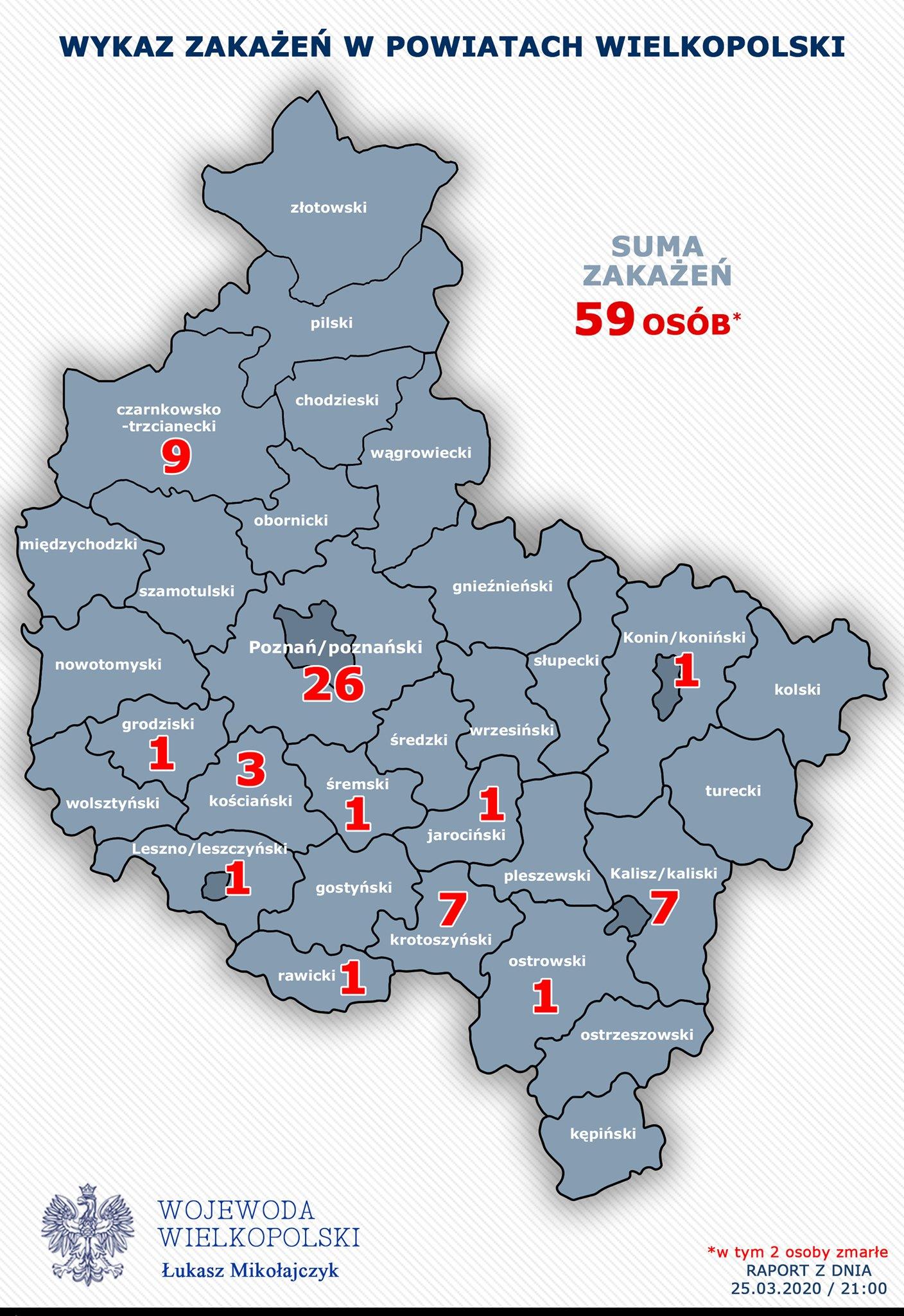 Mapa Zakazen Koronawirusem W Wielkopolsce Jest Na Niej Powiat
